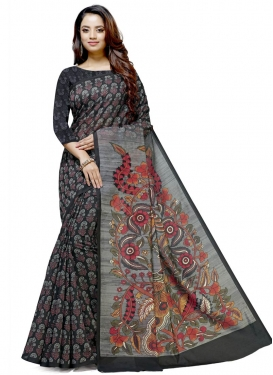 Black and Grey Cotton Silk Traditional Designer Saree