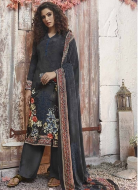 Black and Grey Crepe Silk Palazzo Style Pakistani Salwar Suit