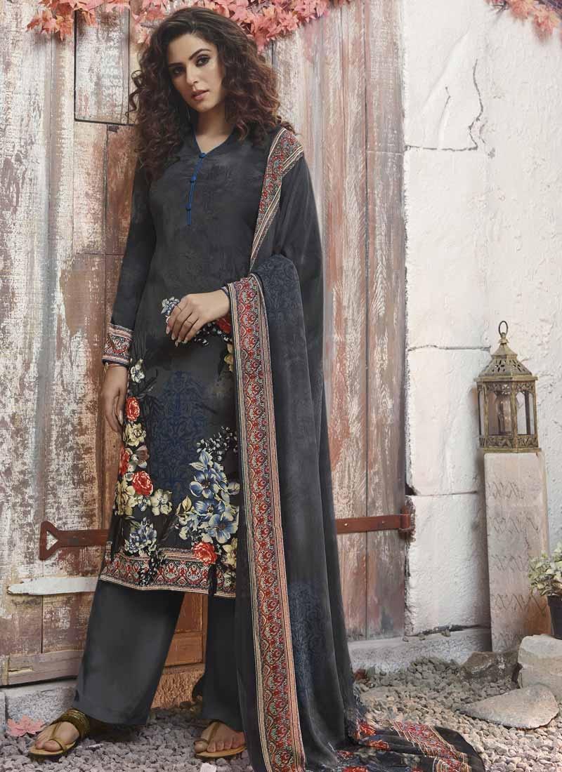 Black and Grey Crepe Silk Palazzo Style Pakistani Salwar Suit
