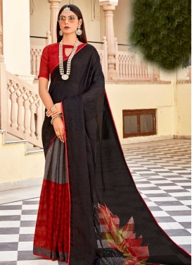 Black and Grey Designer Contemporary Saree