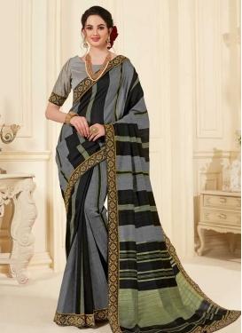Black and Grey Designer Contemporary Saree For Ceremonial