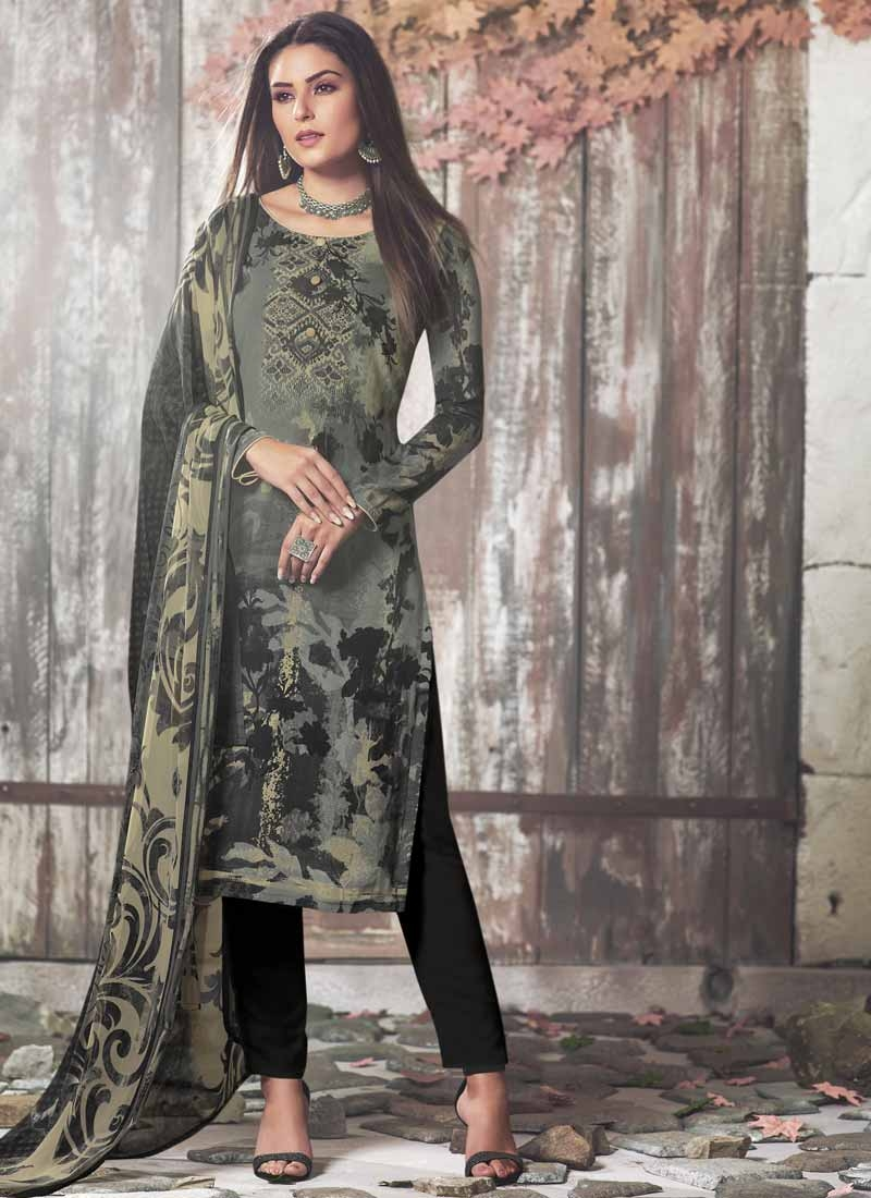 Black and Grey Digital Print Work Pant Style Classic Salwar Suit