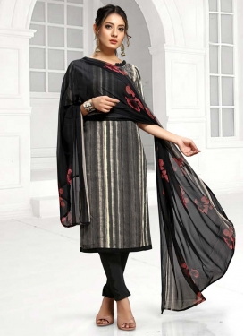 Black and Grey Digital Print Work Pant Style Salwar Kameez