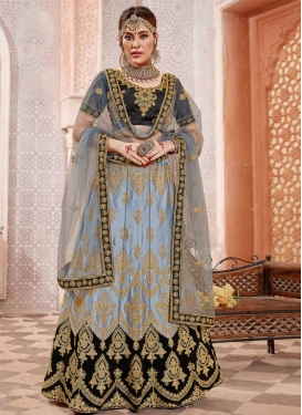 Black and Grey Embroidered Work A Line Lehenga Choli