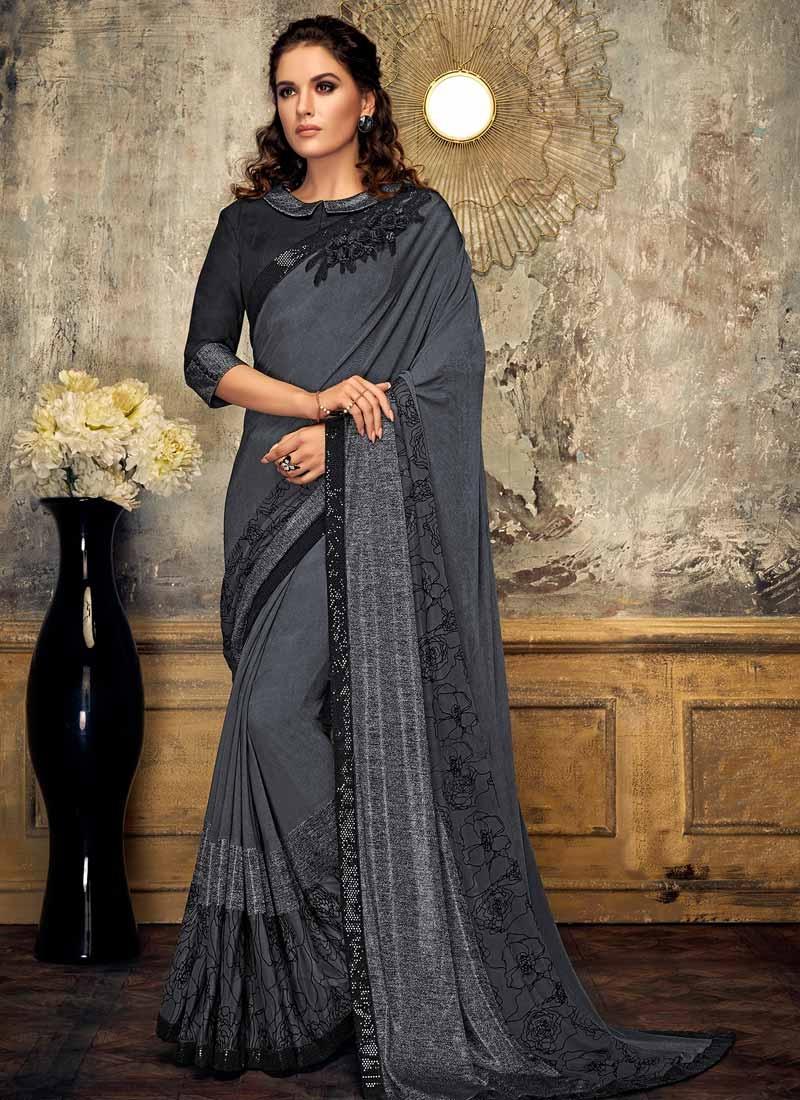 Black and Grey Lycra Contemporary Saree