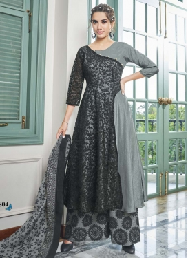 Black and Grey Maslin Readymade Designer Salwar Suit