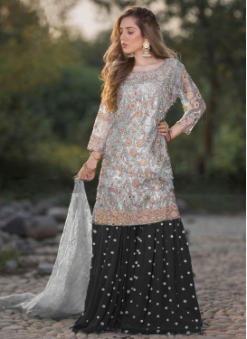 Black and Grey Sharara Salwar Suit For Ceremonial