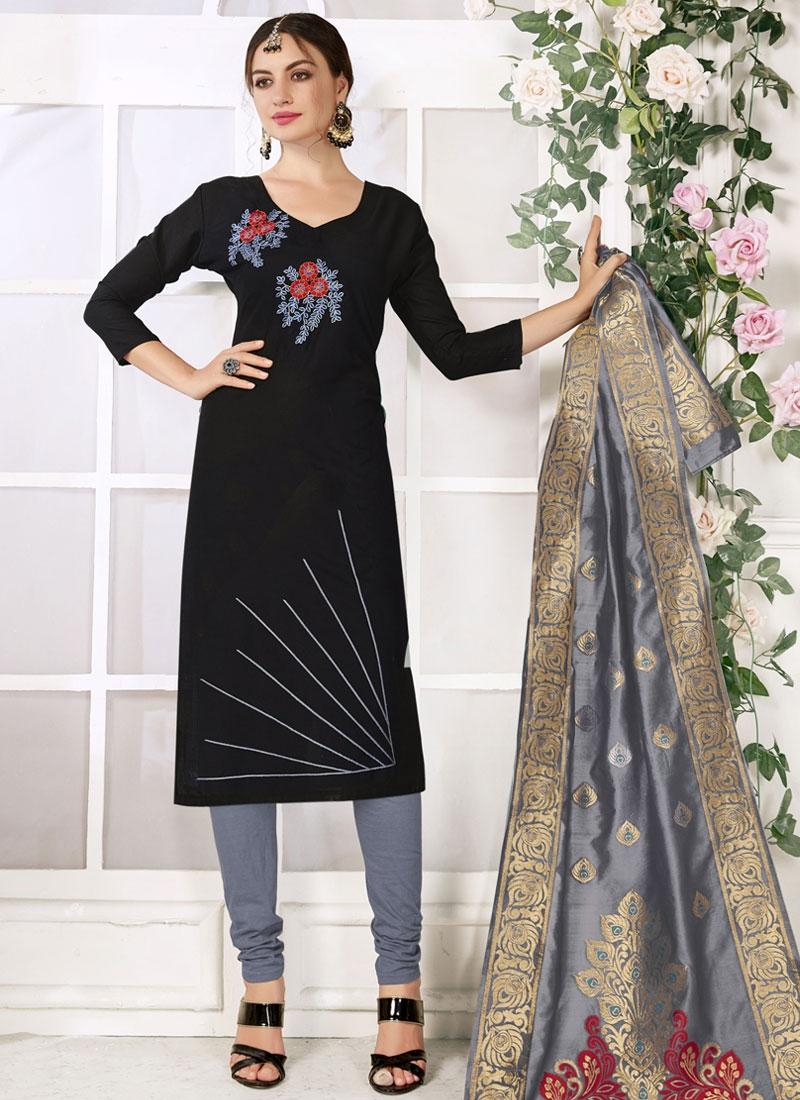 Black and Grey Trendy Churidar Salwar Suit For Casual
