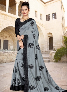 Black and Grey Trendy Classic Saree For Ceremonial