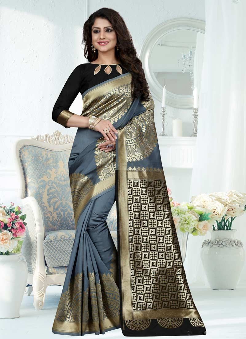 Black and Grey Trendy Saree