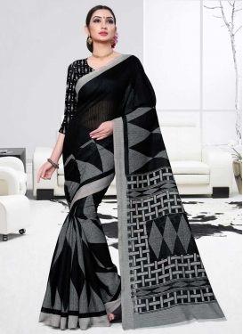 Black and Grey Trendy Saree For Casual