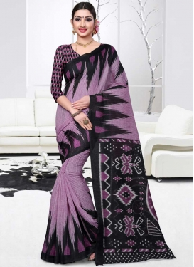 Black and Lavender Designer Contemporary Saree For Casual