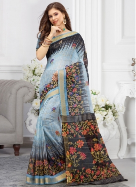 Black and Light Blue Designer Traditional Saree For Casual