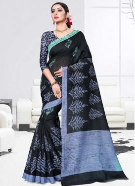 Black and Light Blue Print Work Trendy Saree