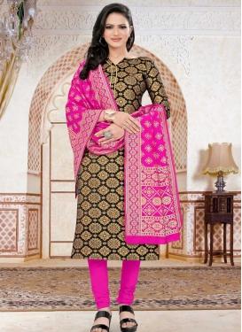 Black and Magenta Woven Work Trendy Churidar Salwar Suit