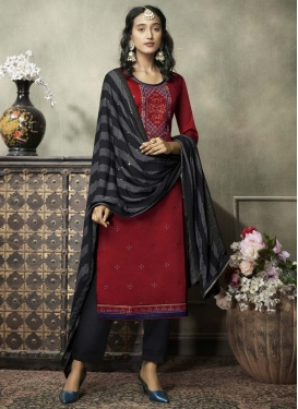 Black and Maroon Pant Style Pakistani Salwar Kameez For Ceremonial