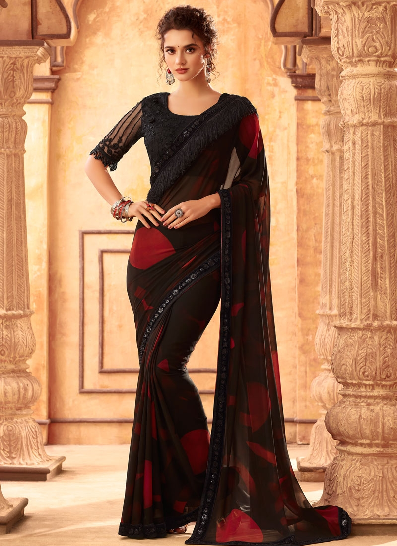 Black and Maroon Satin Georgette Traditional Saree