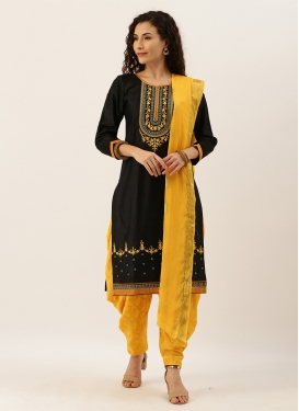 Black and Mustard Cotton Punjabi Salwar Kameez