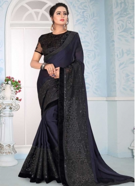 Black and Navy Blue Embroidered Work Designer Traditional Saree
