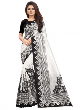 Black and Off White Digital Print Work Raw Silk Trendy Classic Saree