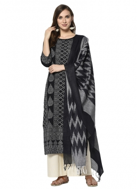 Black and Off White Palazzo Straight Salwar Kameez