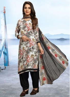 Black and Off White Trendy Patiala Salwar Kameez