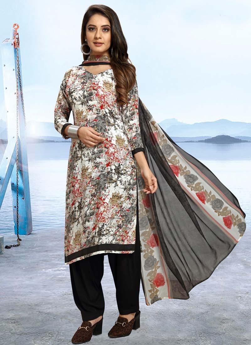 Black and Off White Trendy Patiala Salwar Kameez