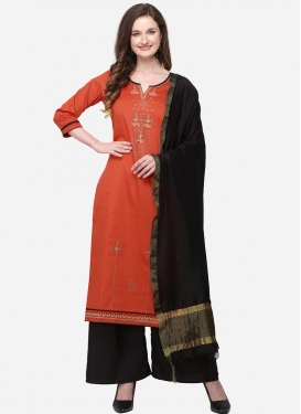 Black and Orange Palazzo Style Pakistani Salwar Kameez