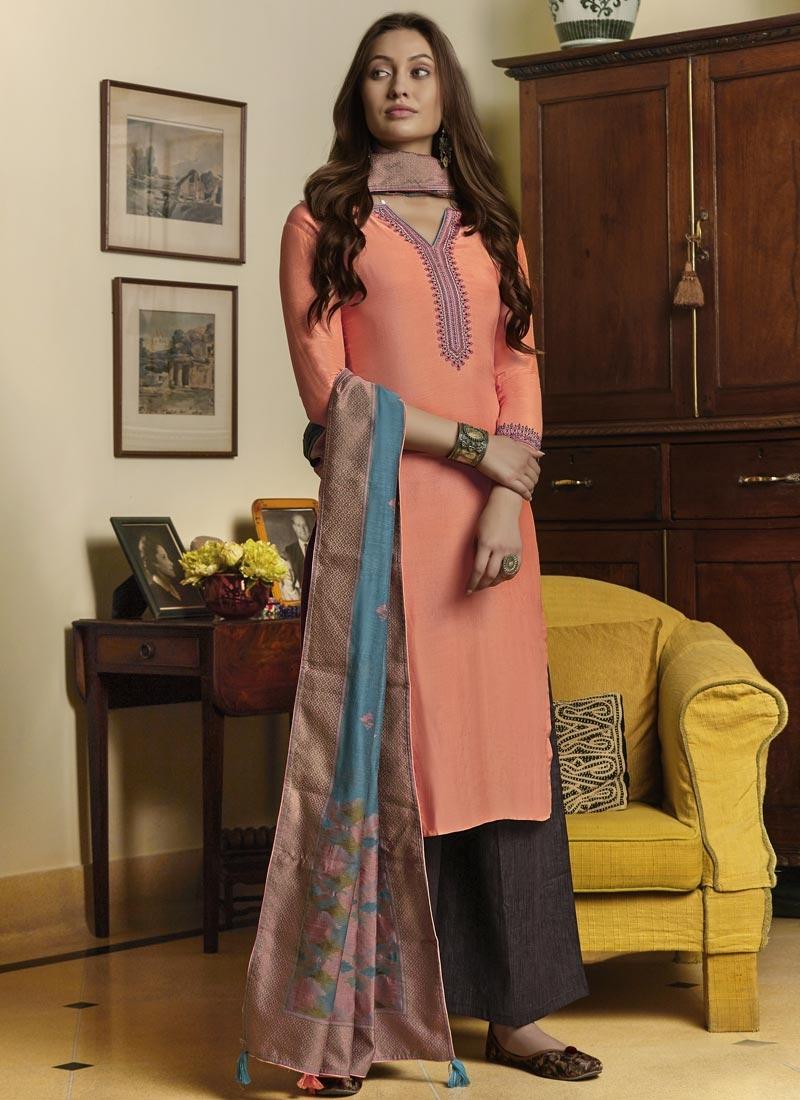 Black and Peach Designer Palazzo Salwar Suit