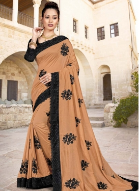 Black and Peach Embroidered Work Contemporary Style Saree