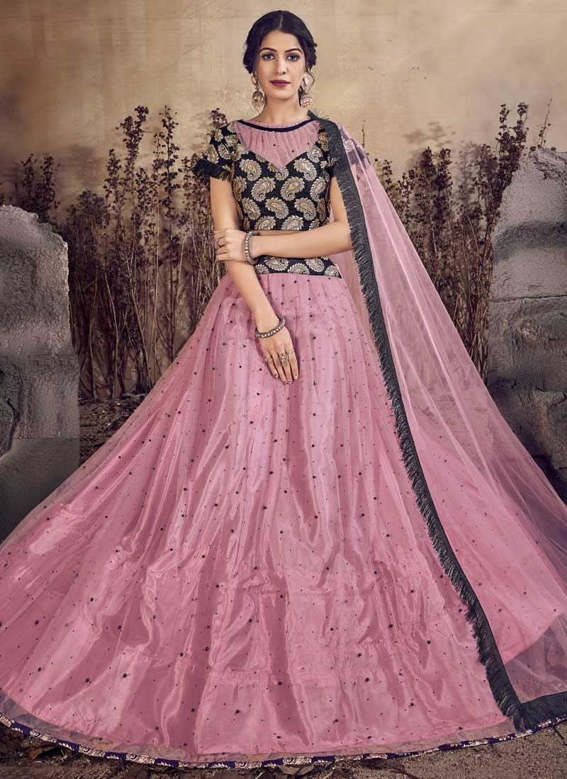 Black and Pink Trendy A Line Lehenga Choli
