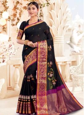 Black and Purple Traditional Designer Saree