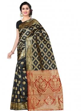 Black and Red Art Silk Designer Contemporary Style Saree