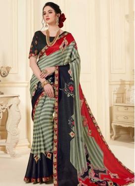 Black and Red Art Silk Trendy Classic Saree