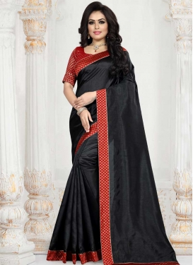 Black and Red Art Silk Trendy Saree