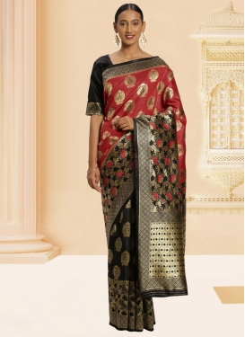 Black and Red Banarasi Silk Classic Saree For Casual