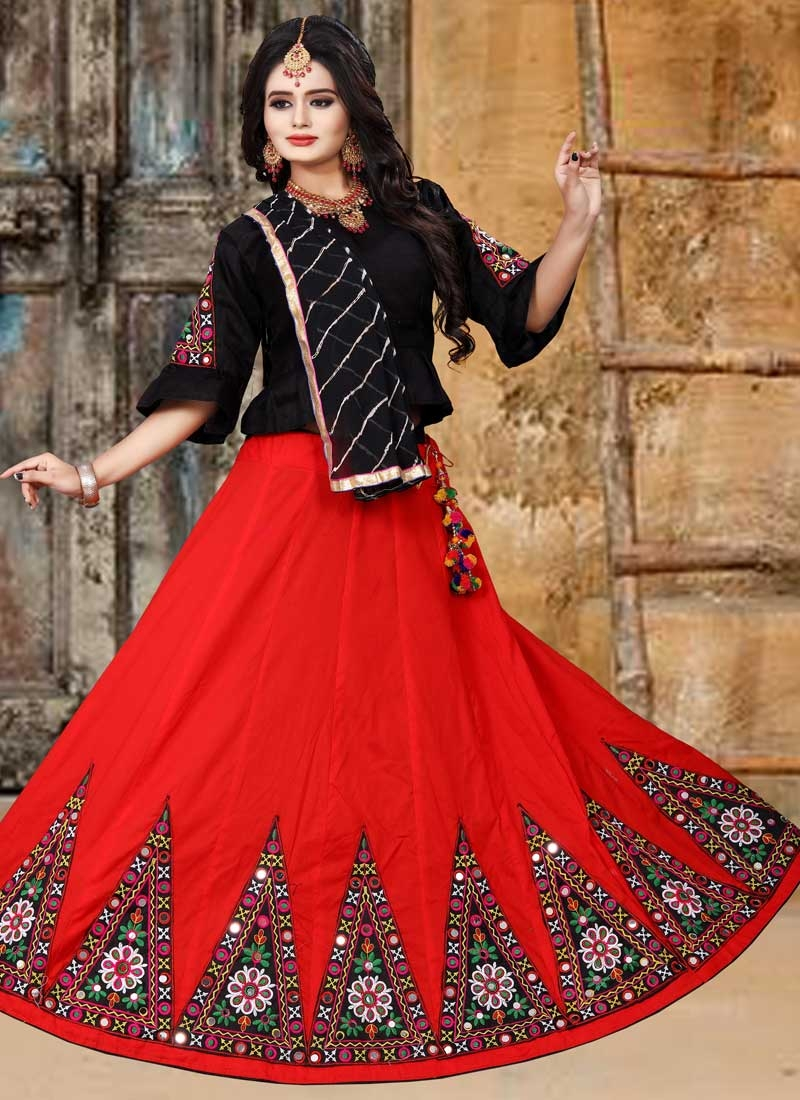 Black and Red Booti Work Designer A Line Lehenga Choli