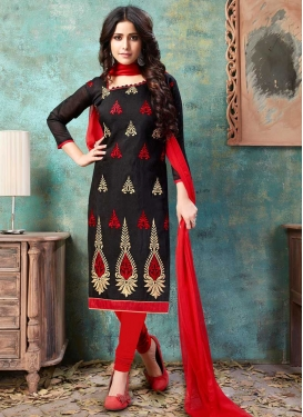 Black and Red Booti Work Trendy Churidar Suit