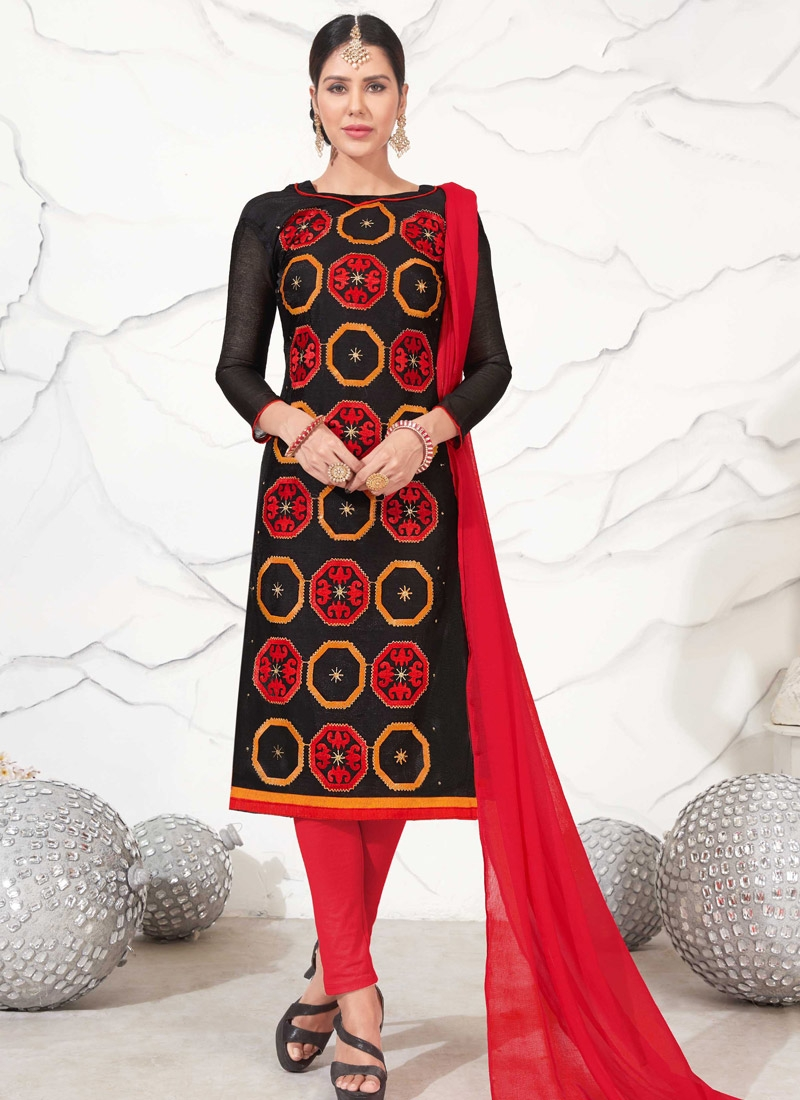 Black and Red Chanderi Cotton Trendy Churidar Salwar Suit