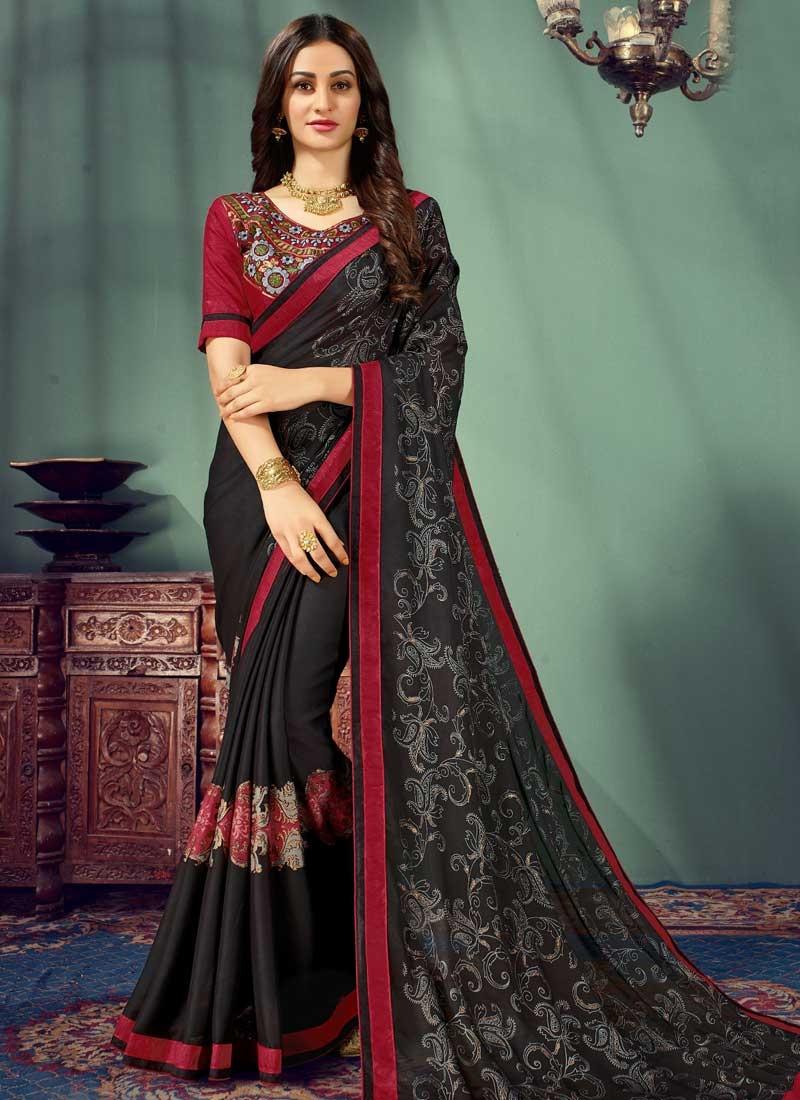 Black and Red Chiffon Satin Classic Saree