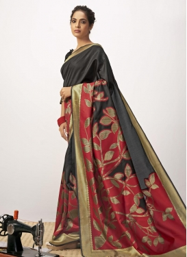 Black and Red Contemporary Style Saree