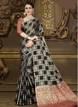 Black and Red Contemporary Style Saree For Casual