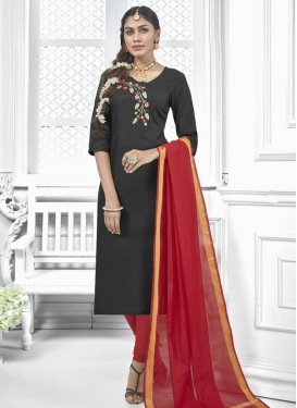Black and Red Cotton Churidar Salwar Kameez