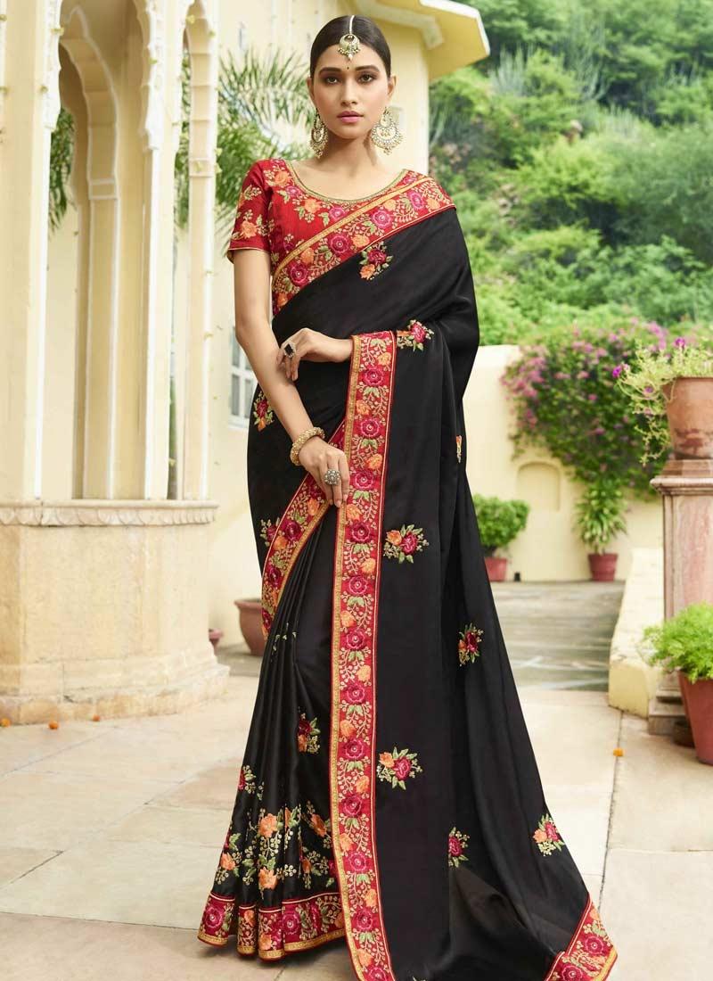 Black and Red Designer Contemporary Saree For Ceremonial