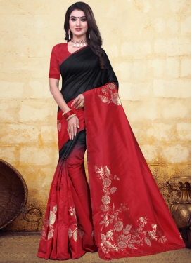 Black and Red Designer Contemporary Style Saree