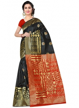 Black and Red Designer Contemporary Style Saree