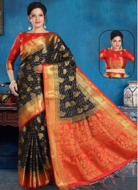 Black and Red Designer Contemporary Style Saree For Casual