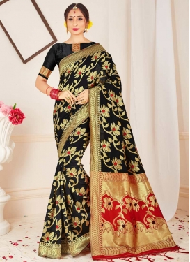 Black and Red Designer Traditional Saree For Casual