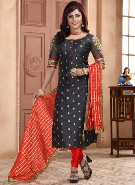 Black and Red Embroidered Work Chanderi Silk Readymade Churidar Salwar Kameez