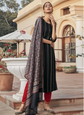 Black and Red Embroidered Work Readymade Designer Salwar Suit